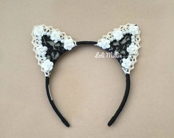 Ariana - Worn by Ariana Grande | White Lace Pearls and Roses Cat Ears by LoliMillie