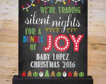 CHRISTMAS BABY Pregnancy Announcement Chalkboard Sign, December Pregnancy Reveal Sign, Silent Nights, Printable