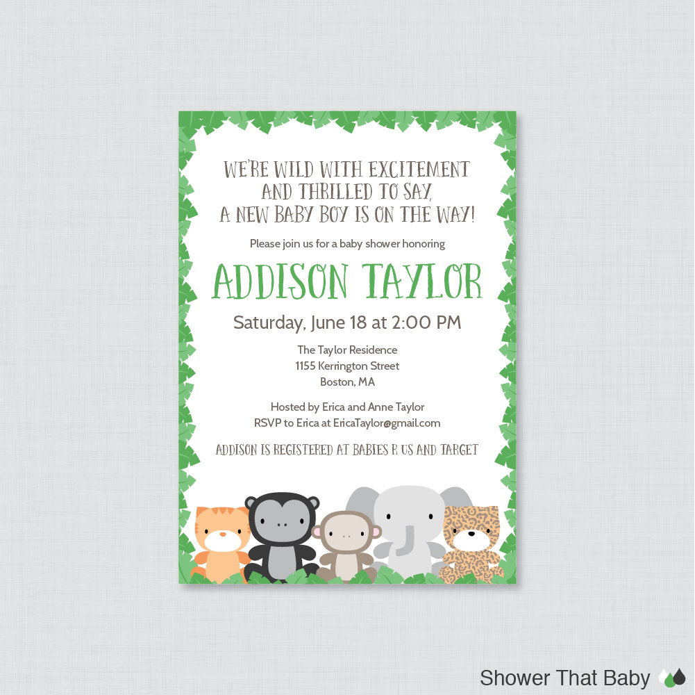 jungle theme baby shower invitation printable or printed