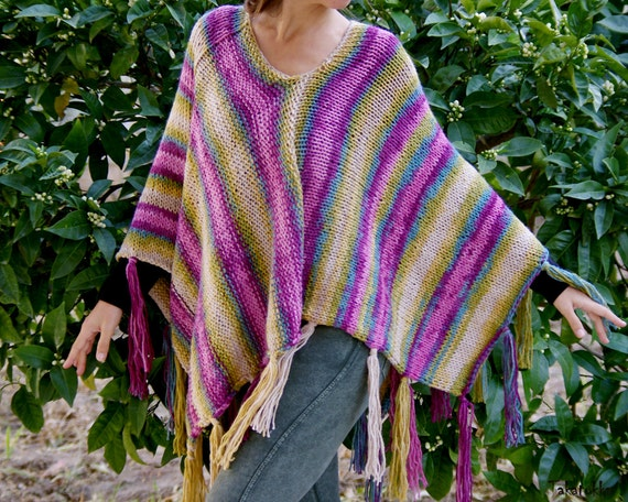 Gypsy Poncho Hippie Poncho Knit Capelet For Women Purple