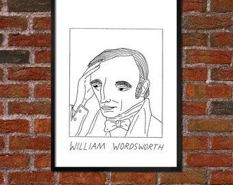 Badly Drawn William Wordsworth - Literary Poster - *** BUY 4, GET A 5th FREE***
