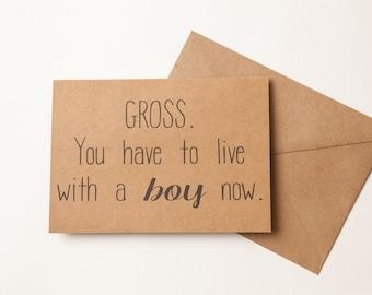 FUNNY BRIDAL SHOWER card - Bridal Shower or Wedding Card - Natural Kraft Card - Greeting Card - Funny Humor Love - Bridal Shower