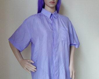 LAVENDER SHIRT -short sleeved, purple, lilac, pastel, pale, casual, hipster, indie, fairy, kawaii, cute, girl, princess, clueless, 90s, 80s-