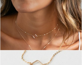 Simple Choker Necklace: Square, Chain Choker, Dainty Choker in Sterling Silver, 14kt Gold Filled, Rose Gold Filled