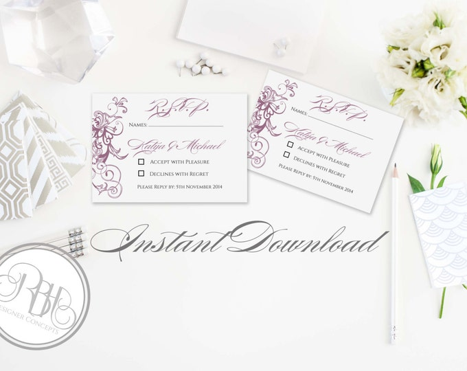 Elegant RSVP Card Reply Template-INSTANT DOWNLOAD pdf Text Editable Only - Elegant Purple Swirl-Helen
