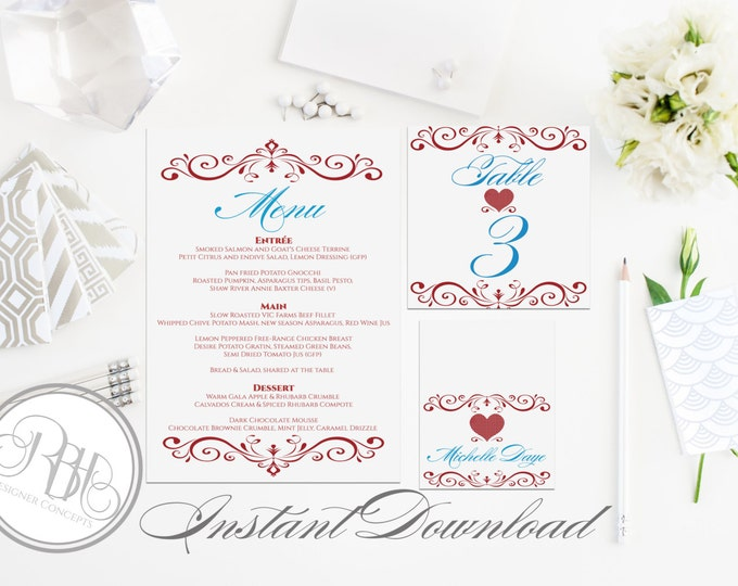 "Valentine Red Wedding Menu, Table Number, PlaceCard Template-INSTANT DOWNLOAD-DIY Editable Text-Valentine Red Table Package-""Lima"""