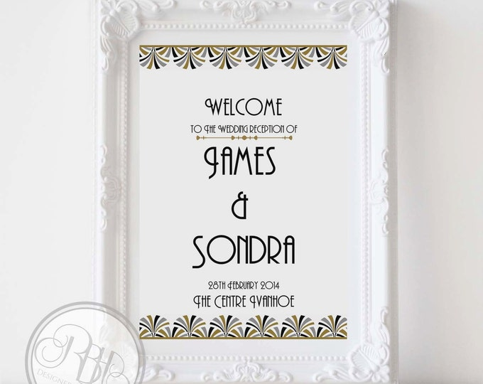 Art Deco Wedding Welcome Sign-Custom Wedding Sign-Large Wedding Sign-Custom Provided-Digital JPG FILE-Black Silver Gold-Bridgette in White