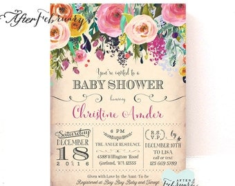 Floral Baby Shower Invitation // Flower Baby Shower Invite Baby Girl Shower Invite // Printable No.745BABY