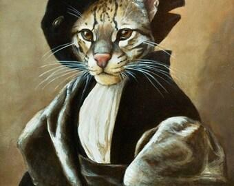 "martingifts Fine Art, Anthropomorphic Animal Paintings,  CAT PORTRAIT ""LANCELOT"""