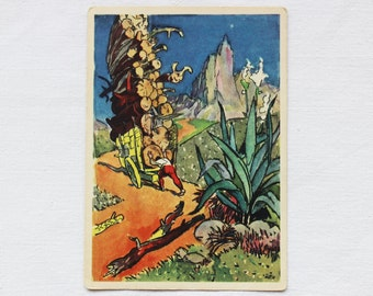 "Illustrator Filippovskiy Vintage Soviet Postcard ""Manuel - an iron staff"" Brazilian Fairytale - 1965. Sovetskiy hudozhnik. Man, Cart, Logs"