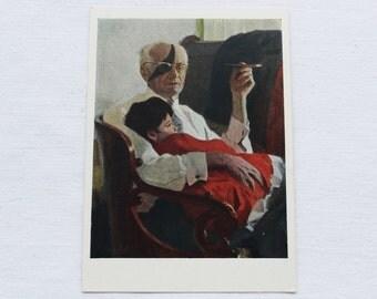 "Artist Efanov. Vintage Soviet Postcard ""Grandfather with granddaughter"" - 1958. Sovetskiy hudozhnik. Child, Man, Mouthpiece, Glasses"
