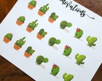 Kawaii cactus matte planner stickers