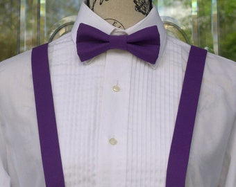 Royal Purple Bow Tie & Suspenders - Purple - 21B (Infant - Adult)  Weddings - Grooms - Groomsmen - Graduation - Violet Purple - Mens Bowties