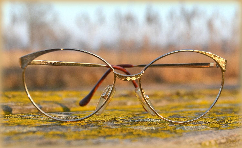 Gold Metal Eyeglass Frames : Vintage Eyeglass Frame Gold Metal Rim Handmade in Italy