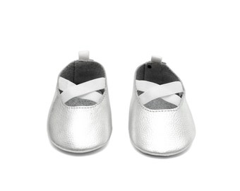 Handmade Genuine Leather Mac&Lou Baby Girl Ballerina Shoes Sandals Moccasins Babies Booties Shoes Baby Shower Gift Christmas Gift Silver