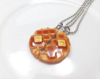 Waffle Necklaces, Bff Jewelry, Bff Necklaces, Waffle Necklace, Food Necklace, Best Friend Jewelry, Waffle Charms, Food Charms