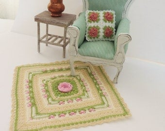 Miniature crochet throw blanket garden of flowers, tiny rug for dollhouse in 1:12 scale, miniature artisan, model #81