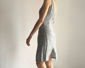 Vintage linen grey fitted dress | Italian design