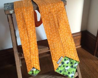 Flannel Scarf Tie - Orange dot egg & Monkey Men's, Women's Super Soft custom, Winter fashion neck scarf