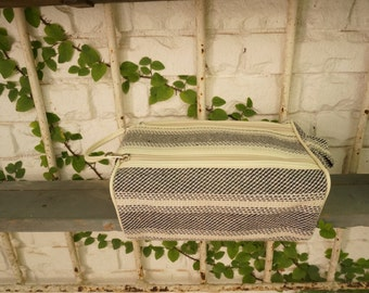 Black Stripe Knit make up bag / organizer / skin care storage / toiletry