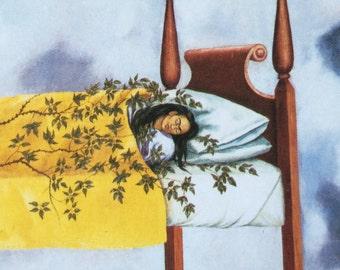 Frida Kahlo-Frida-Art-Vintage-Postcard-The Dream-Self Portrait-Skeleton-Death-Mexico-Surrealism Home decor