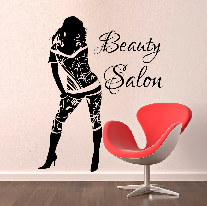 Beauty salon wall stickers hair decorations salon by cozydecal for Stickers salon