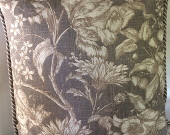 Taupe and Creme Flowers Rope Welting Pillow Covers 20 x 20