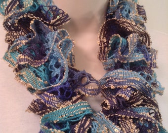 Green and Blue Ruffle Scarf
