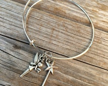 Fairy Wand bracelet, Love Bracelet, Tinkerbell Bracelet, Charm Bangle, Disney bracelet