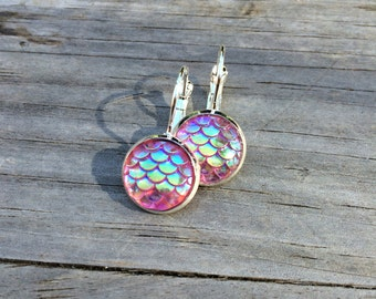 Pink Mermaid Scale Earrings, Mermaid Earrings, Beach, Leverback Earrings, Ocean, Nautical, Sea, Gifts for Her, Gifts for teens