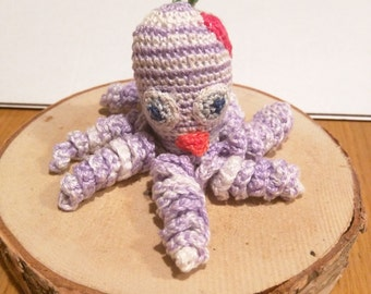 Baby octopus with pacifier - small crochet stuffed animal - keychain