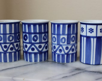 Vintage Dansk Arabesque Plus One Blue and White Mugs