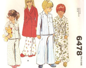VINTAGE McCall's Sewing Pattern 6478 - Children's Sleepwear - Robe and Pajamas, Size 4