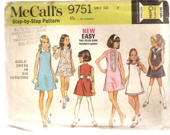 VINTAGE McCall's Sewing Pattern 9751 - Children's Clothes - Girl's Dress, Size 7