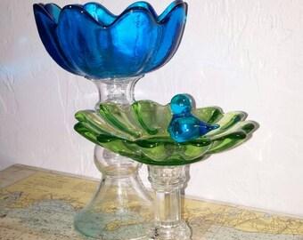 Set of 2 Vintage upcycled glass flower pedestal dishes