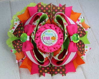 Happy Fall Y'all - Stacked Hairbow - Approximately 5.5 inches - Side bows - Lace Puff - Cameo - Clip of Choice