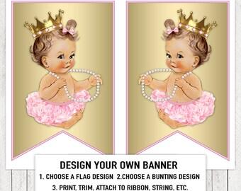 Pink Gold Ballerina Princess Tutu Pearl Baby Shower Banner Bunting Flags Brunette Pink Ballerina Princess Pearl Baby Shower Banner