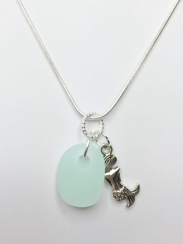 light green sea glass pendant glass necklace mermaid