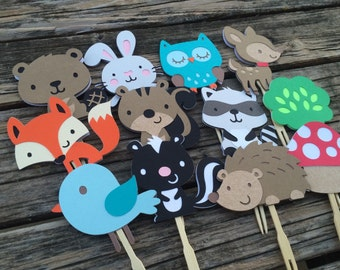 Woodland Party Cupcake Toppers - Baby Shower, Birthday Party, Fox Party, Party Decorations