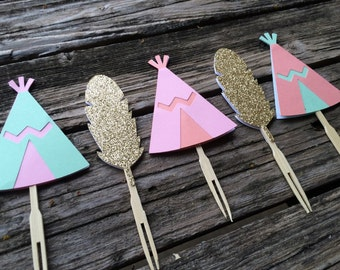 Tribal Party Cupcake Toppers - Tribal Party, Wild One Party, Birthday Party, Party Decorations