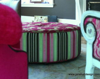 Upholstered Ottoman, In Pink, Chocolate Brown, Green, Clarke and Clarke, Velvet Fabric, Custom Made