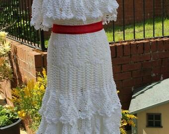 Hand Crochet Ruffles Wedding/Evening Engagement Party Dress, Custom Made, Handmade, Women Fashion Dress