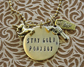Stay Gold, Ponyboy. Hand stamped charm necklace