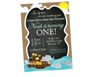 NOAH'S ARK Birthday Chalkboard Invitation - Digital Personalized File to Print