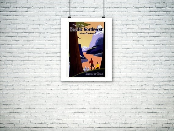 Purchase Pacific Northwest Poster, Oregon, Washington, Idaho, Montana Forest and Lake.