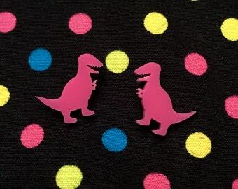 Pink T-Rex Stud Earrings