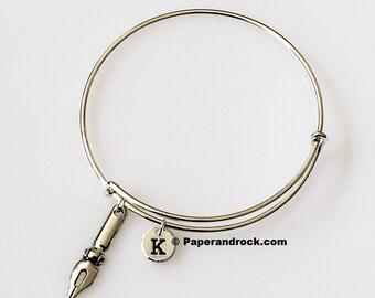 Pen nib initial bracelet, writer bracelet, gift for writer, gift for calligrapher, silver pen bangle, teacher gift, calligraphy bracelet