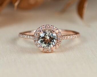 Aquamarine Rose Gold Ring, Aquamarine Halo Ring, Diamond Engagement, Halo Ring, Diamond Halo ring, Aquamarine Engagement Ring, Promise ring