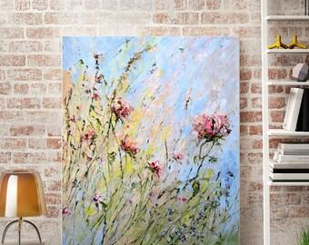 Landscape Art Canvas Painting Landscape Painting Large Landscape Print Abstract Landscape Living Room Blue Pink Flower Field Painting Peony