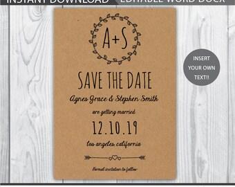 rustic save the date / rustic save the date printable / kraft save the date / save the date / save the date kraft / rustic wedding / INSTANT